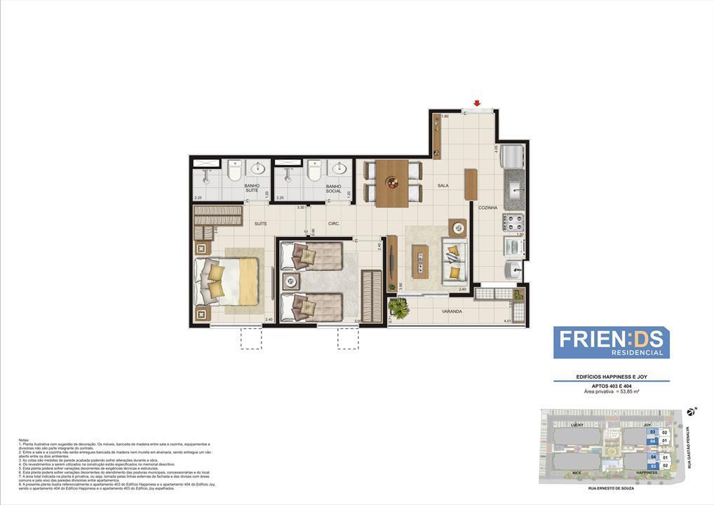 Edifícios Happiness e Joy. Apartamentos 403 e 404. Área privativa de 53,85m2 | Friends Residencial – Apartamentono  Andaraí - Rio de Janeiro - Rio de Janeiro