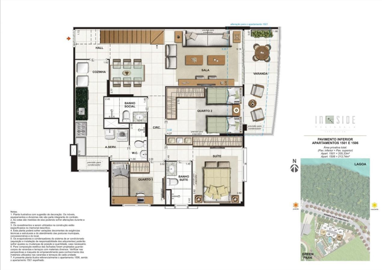 Planta Cobertura Duplex - 3 Quartos Pavimento Inferior Apartamentos 1501 e 1506 | IN SIDE PENÍNSULA HOME DESIGN – Apartamento na  Barra da Tijuca - Rio de Janeiro - Rio de Janeiro