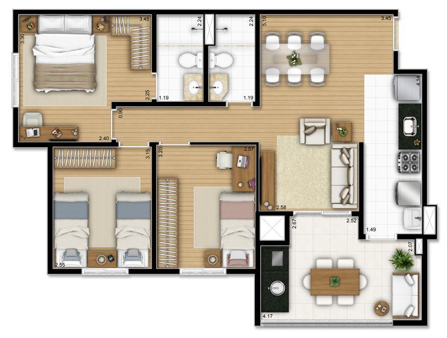 Living Moovie de 2 a 3 dormitórios em Jardim Hollywood, São Bernardo Do Campo - SP