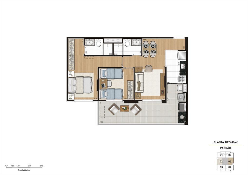 Planta tipo do apartamento de 69m² 2 dorms (1 suíte) | Cyrela Classic Lapa – Apartamentona  Lapa - São Paulo - São Paulo