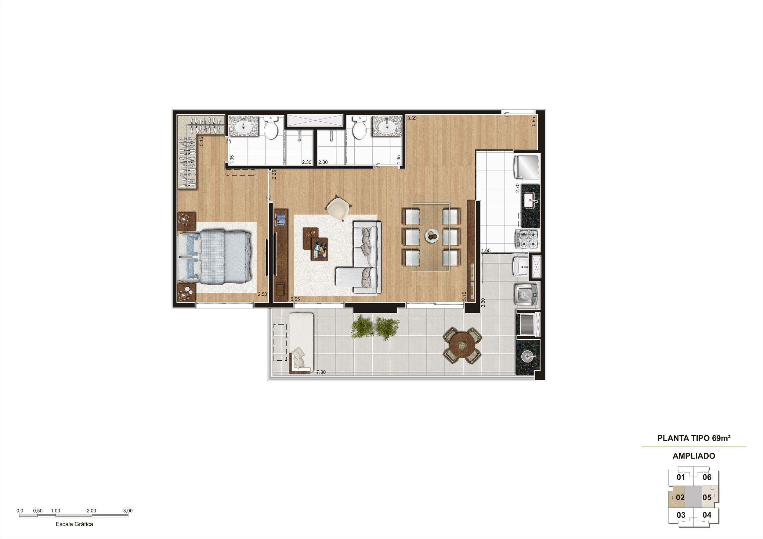 Planta opção Living Ampliado do apartamento de 69m² 1 suíte | Cyrela Classic Lapa – Apartamento na  Lapa - São Paulo - São Paulo