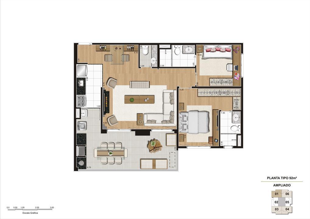 Planta opção Living Ampliado do apartamento de 92m² 2 dorms | Cyrela Classic Lapa – Apartamentona  Lapa - São Paulo - São Paulo