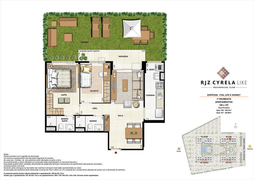 Apartamentos Garden de 2 quartos no 1º Pavimento. Área Privativa 106   99,51m² e 107   98,86m² | RJZ Cyrela Like Residencial Club – Apartamentoda  Barra Olímpica - Rio de Janeiro - Rio de Janeiro