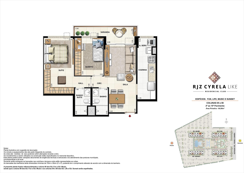 Apartamentos Tipo de 2 quartos do 2º ao 15º Pavimento. Área Privativa Colunas 05 e 08   64,90m² | RJZ Cyrela Like Residencial Club – Apartamento da  Barra Olímpica - Rio de Janeiro - Rio de Janeiro