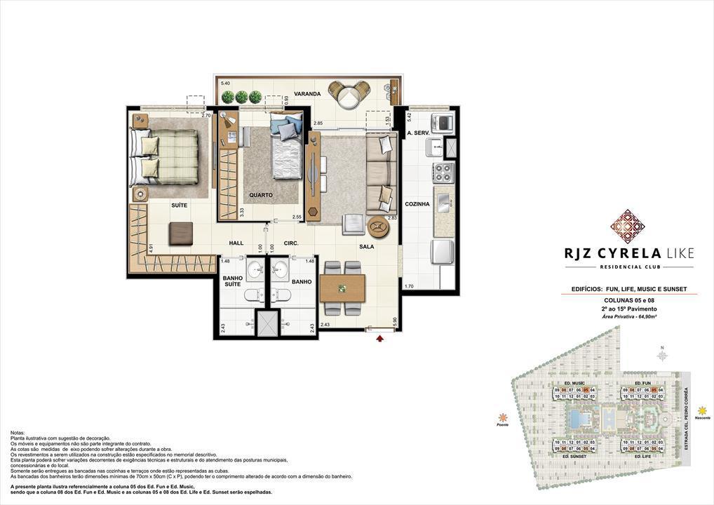 Apartamentos Tipo de 2 quartos do 2º ao 15º Pavimento. Área Privativa Colunas 05 e 08   64,90m² | RJZ Cyrela Like Residencial Club – Apartamentoda  Barra Olímpica - Rio de Janeiro - Rio de Janeiro