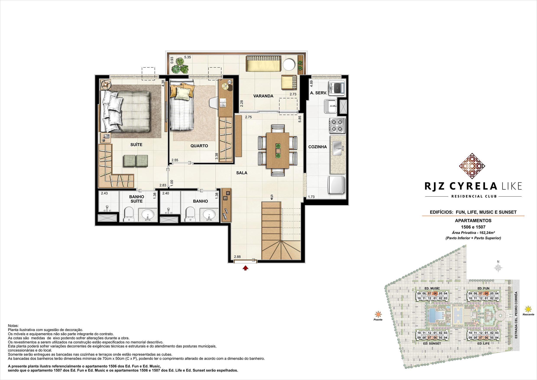 Coberturas Duplex (pavimento inferior   opção 3 quartos). Área Privativa  1506 e 1507   162,24m² | RJZ Cyrela Like Residencial Club – Apartamento da  Barra Olímpica - Rio de Janeiro - Rio de Janeiro