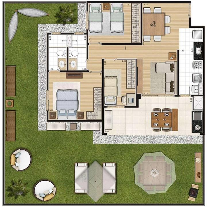 Planta do apartamento garden | Cyrela Cypriani 955 Ipiranga – Apartamentono  Ipiranga - São Paulo - São Paulo