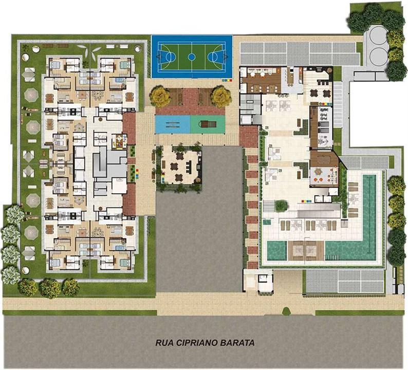 Planta Ilustrada da Implantação | Cyrela Cypriani 955 Ipiranga – Apartamentono  Ipiranga - São Paulo - São Paulo