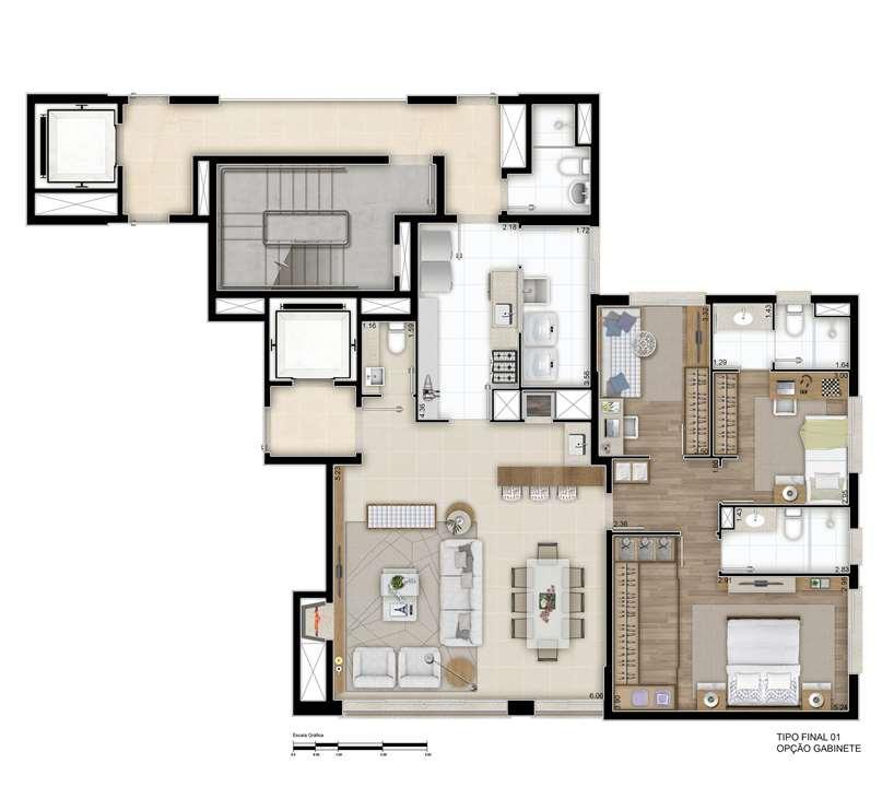 121m² - Opção com 2 suítes e gabinete | Cyrela Goldsztein Clássico Petrópolis  – Apartamentono  Petrópolis - Porto Alegre - Rio Grande do Sul