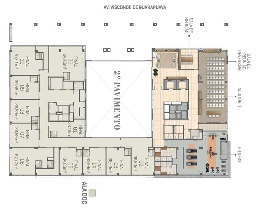 Planta - 2º Pavimento | DOC Castelo Batel – Salas Comerciaisno  Batel - Curitiba - Paraná