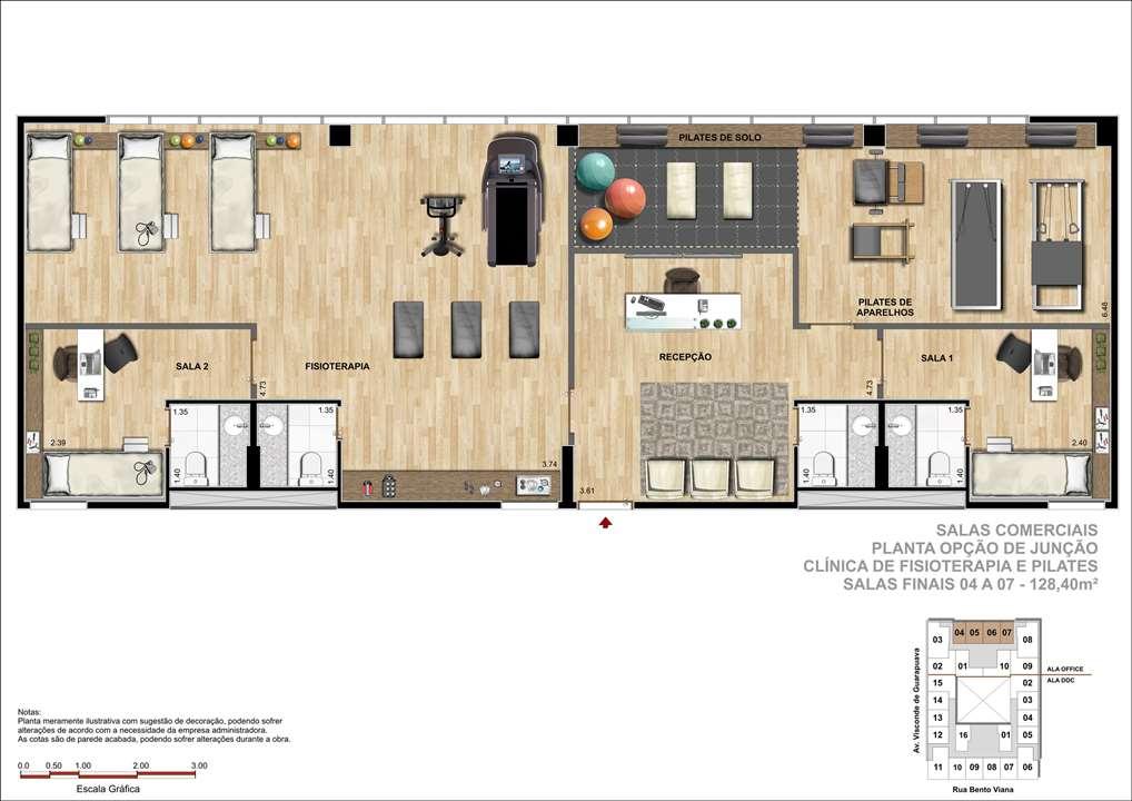 Sala Comercial com 128m² - Sugestão de Clínica de Pilates e Fisioterapia | DOC Castelo Batel – Salas Comerciaisno  Batel - Curitiba - Paraná