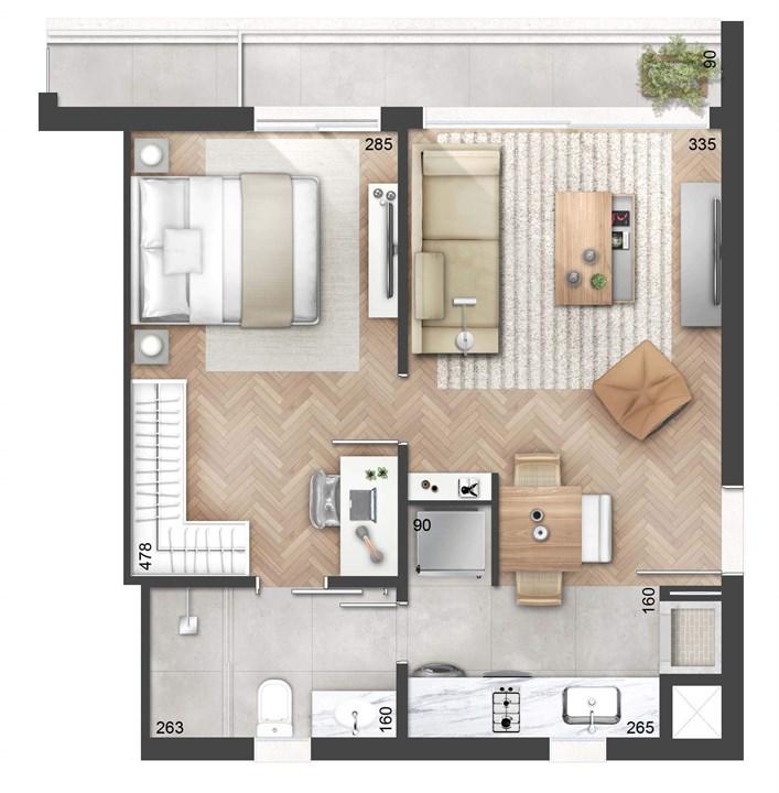 1 Dormitório 53m² com Sacada | NY, 205 – Apartamentono  Auxiliadora - Porto Alegre - Rio Grande do Sul