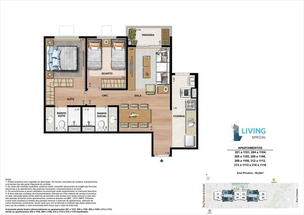 2 quartos de 59,64 m² | Living Special – Apartamentono  Grande Méier - Rio de Janeiro - Rio de Janeiro
