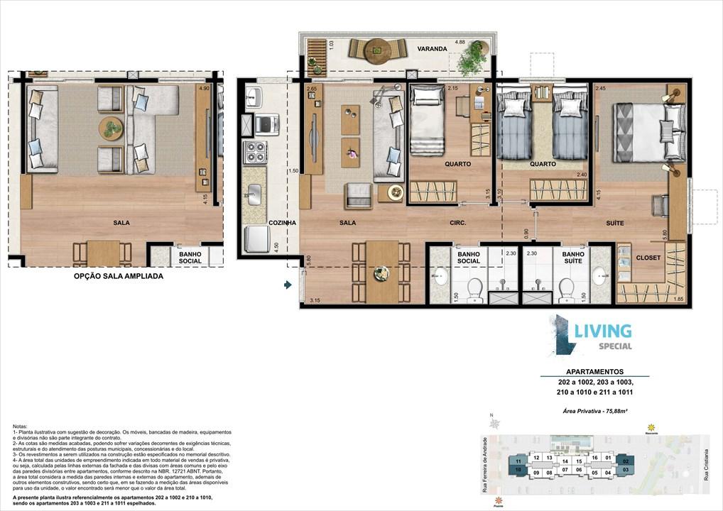 3 quartos de 75,88 m² | Living Special – Apartamentono  Grande Méier - Rio de Janeiro - Rio de Janeiro