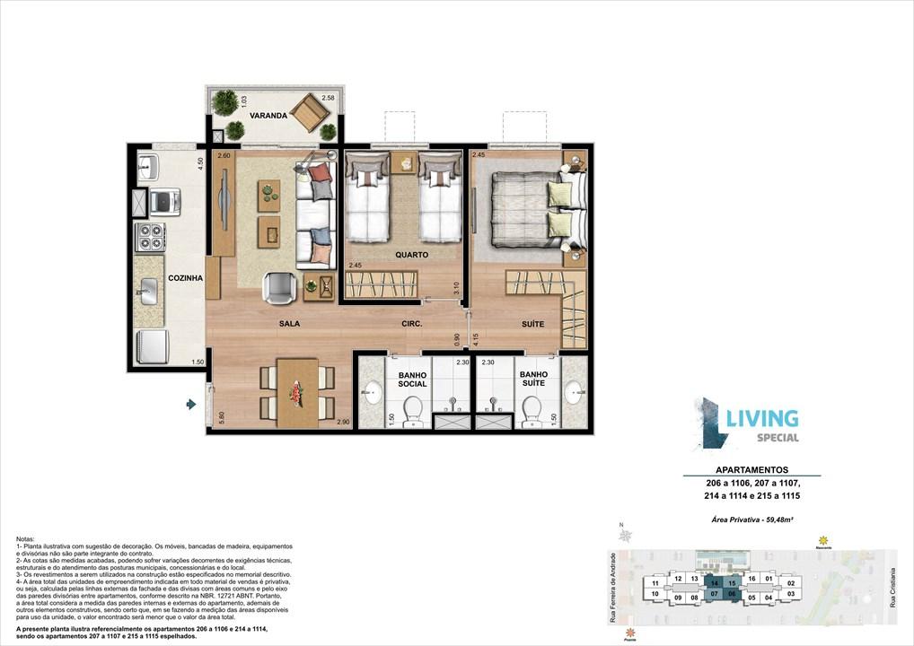 2 quartos de 59,48 m² | Living Special – Apartamentono  Grande Méier - Rio de Janeiro - Rio de Janeiro