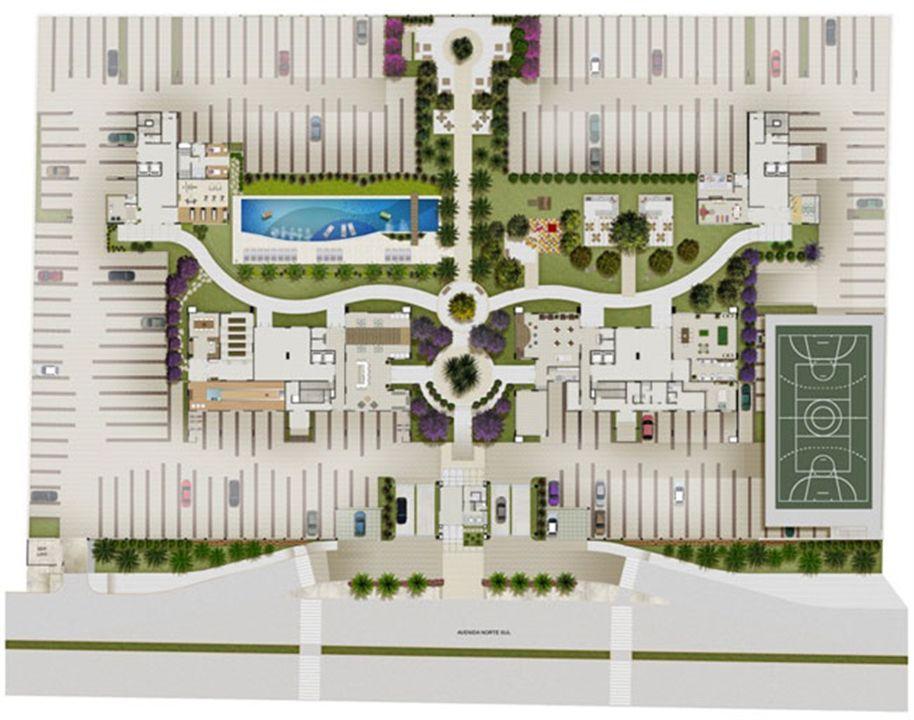 Perspectiva Ilustrada da Implantação   Reserva Verde Residencial Park – Apartamentoem  Laranjeiras - Serra - Espírito Santo