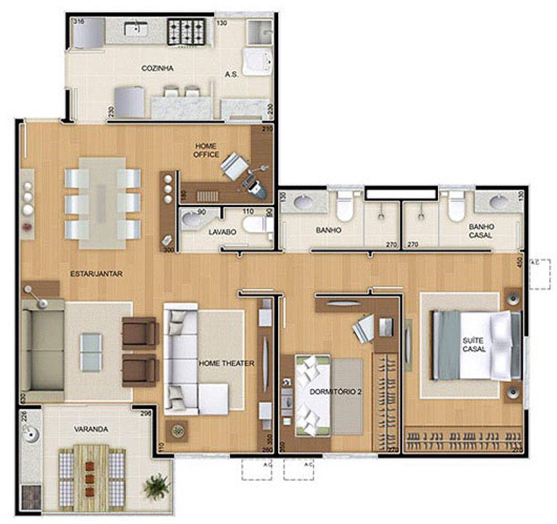 Torres 1 e 4 - 3 Quartos - 96 m² - Planta opção - 2 Quartos e Sala Ampliada   Reserva Verde Residencial Park – Apartamento em  Laranjeiras - Serra - Espírito Santo