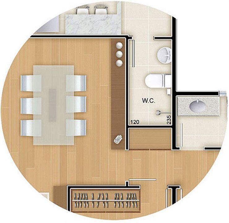 Torres 1 e 4 - 3 Quartos - 96 m² - Planta opção - Banheiro de Empregada e Roupeiro   Reserva Verde Residencial Park – Apartamentoem  Laranjeiras - Serra - Espírito Santo
