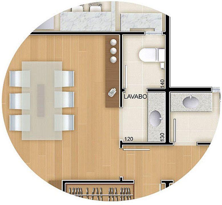 Torres 1 e 4 - 3 Quartos - 96 m² - Planta opção - Lavabo   Reserva Verde Residencial Park – Apartamentoem  Laranjeiras - Serra - Espírito Santo