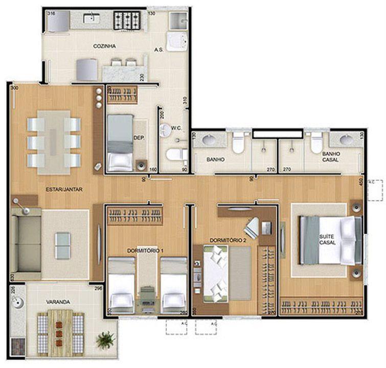 Torres 1 e 4 - 3 Quartos - 96 m² - Planta tipo   Reserva Verde Residencial Park – Apartamentoem  Laranjeiras - Serra - Espírito Santo