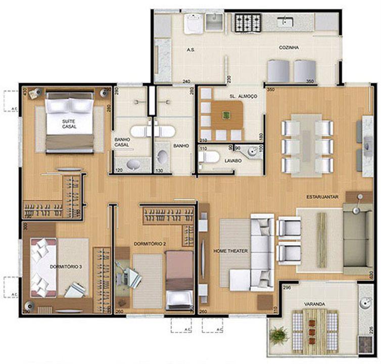 Torres 1 e 4 - 4 Quartos - 109 m² - Planta opção - 3 quartos e Sala Ampliada   Reserva Verde Residencial Park – Apartamentoem  Laranjeiras - Serra - Espírito Santo
