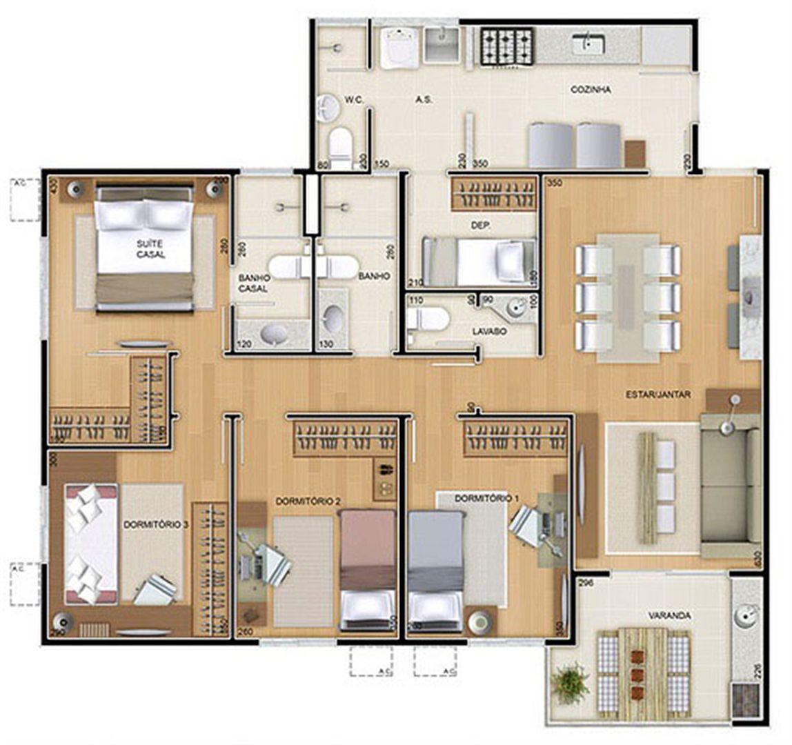Torres 1 e 4 - 4 Quartos - 109 m² - Planta tipo   Reserva Verde Residencial Park – Apartamento em  Laranjeiras - Serra - Espírito Santo