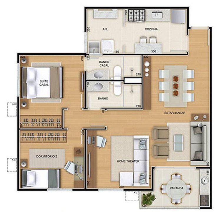 Torres 2 e 3 - 3 Quartos - 82 m² - Planta opção - 2 quartos e Sala ampliada   Reserva Verde Residencial Park – Apartamentoem  Laranjeiras - Serra - Espírito Santo