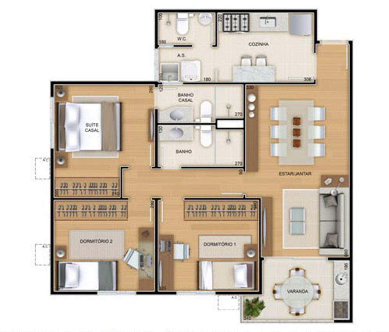 Torres 2 e 3 - 3 Quartos - 82 m² - Planta tipo   Reserva Verde Residencial Park – Apartamento em  Laranjeiras - Serra - Espírito Santo