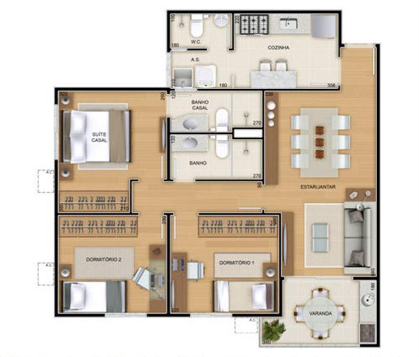 Torres 2 e 3 - 3 Quartos - 82 m² - Planta tipo   Reserva Verde Residencial Park – Apartamentoem  Laranjeiras - Serra - Espírito Santo
