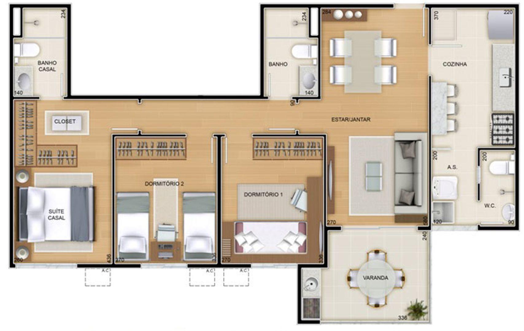 Torres 2 e 3 - 3 Quartos - 85 m² - Planta opção - Cozinha Americana   Reserva Verde Residencial Park – Apartamento em  Laranjeiras - Serra - Espírito Santo