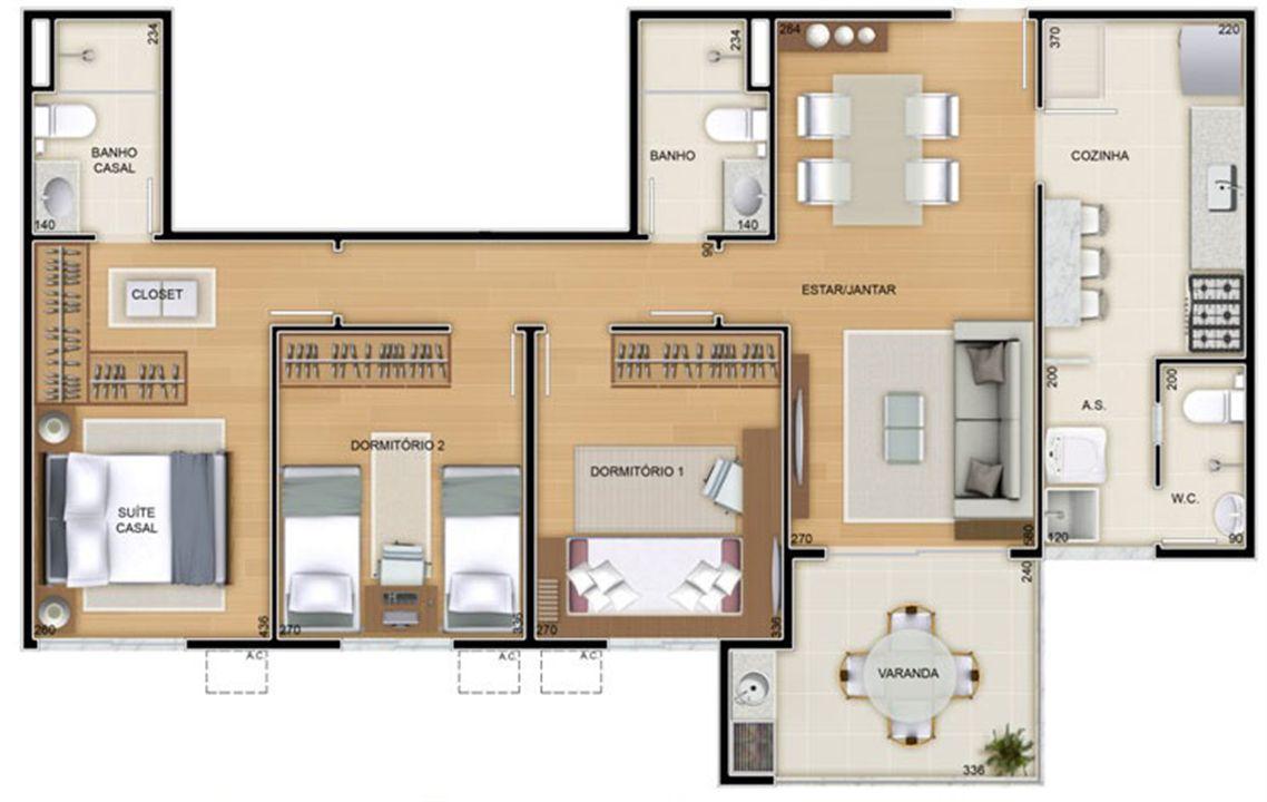 Torres 2 e 3 - 3 Quartos - 85 m² - Planta opção - Cozinha Americana   Reserva Verde Residencial Park – Apartamentoem  Laranjeiras - Serra - Espírito Santo