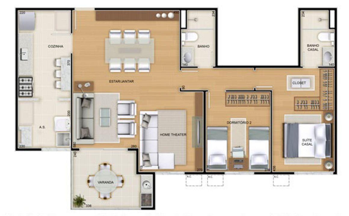 Torres 2 e 3 - 3 Quartos - 90 m² - Planta opção - 2 quartos e sala ampliada   Reserva Verde Residencial Park – Apartamentoem  Laranjeiras - Serra - Espírito Santo