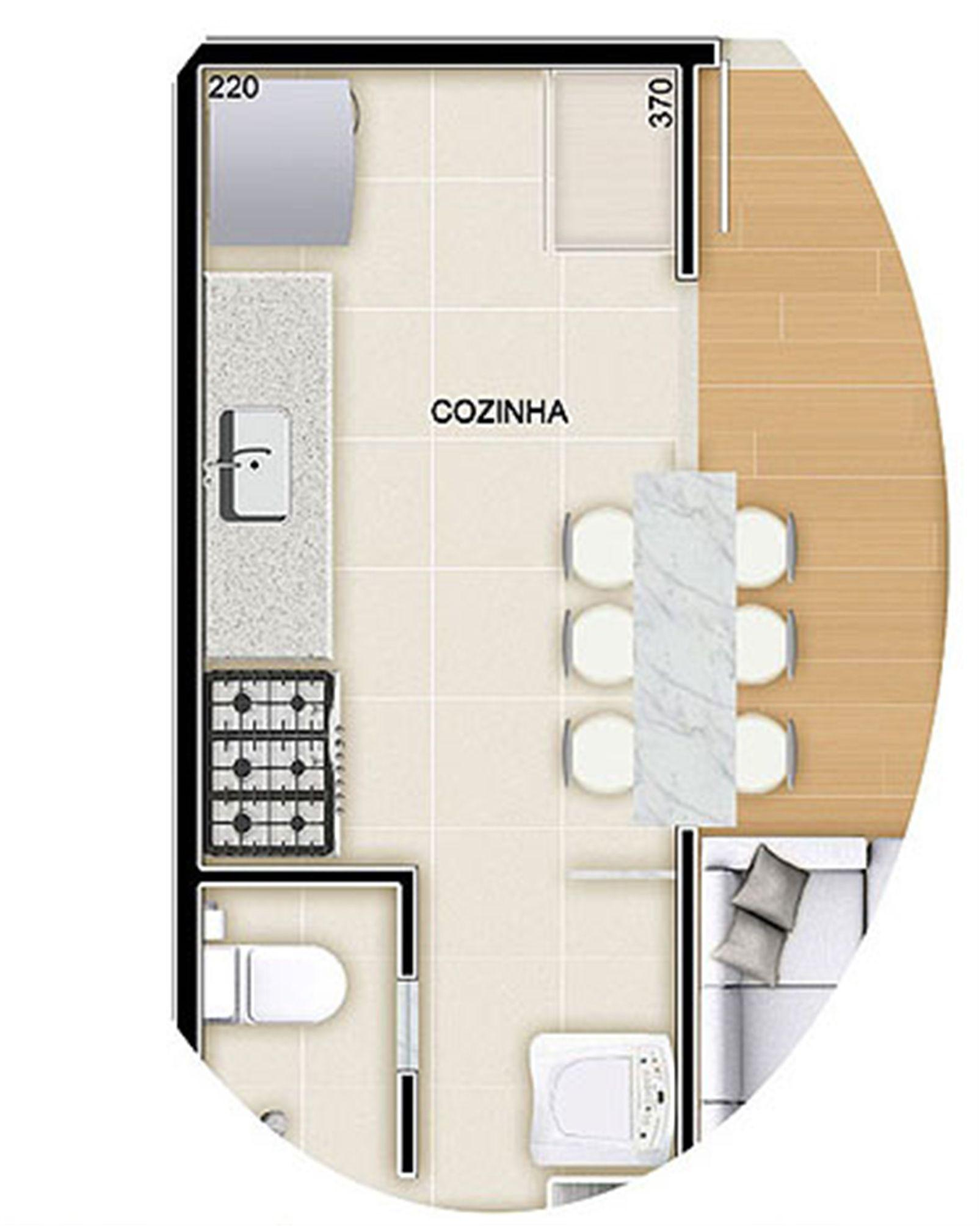 Torres 2 e 3 - 3 Quartos - 90 m² - Planta opção - Cozinha Americana   Reserva Verde Residencial Park – Apartamentoem  Laranjeiras - Serra - Espírito Santo