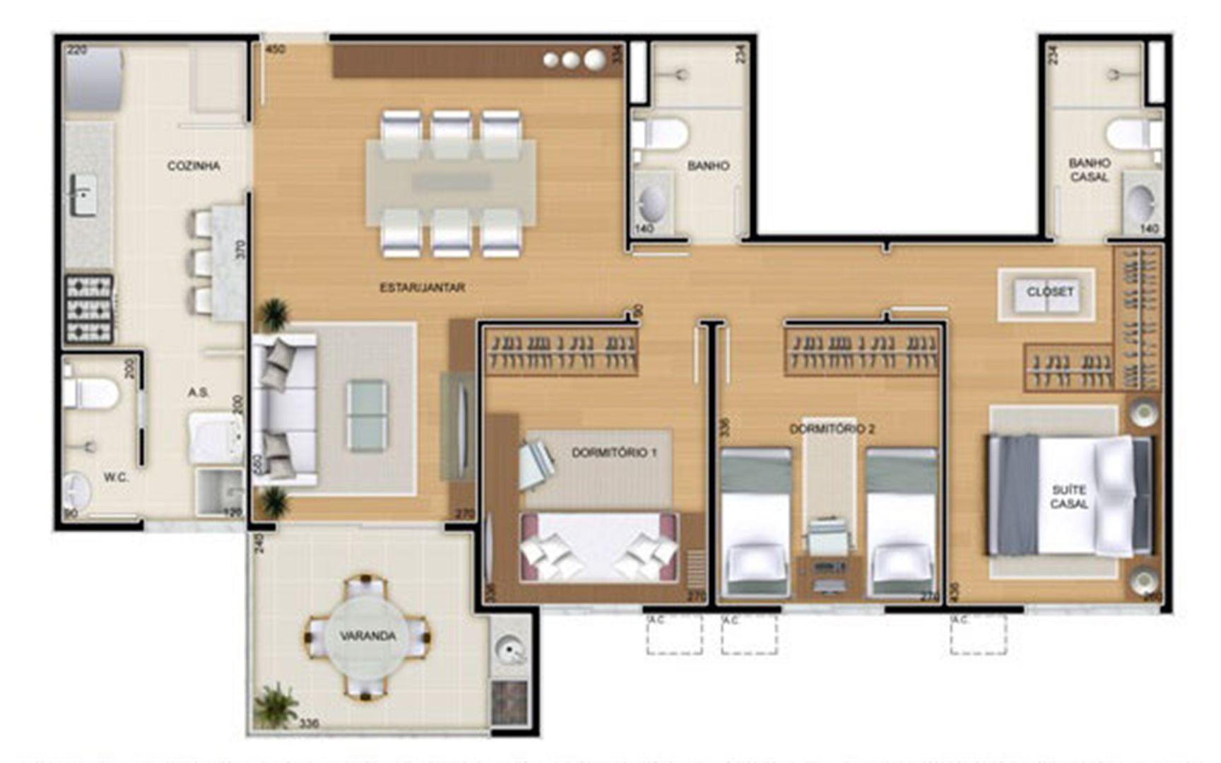 Torres 2 e 3 - 3 Quartos - 90 m² - Planta tipo   Reserva Verde Residencial Park – Apartamento em  Laranjeiras - Serra - Espírito Santo