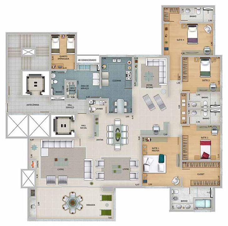 Edifício Apolo - Planta tipo do 1º ao 16º pavimento | Olympus - Apolo e Athena – Apartamentona  Vila da Serra - Nova Lima - Minas Gerais