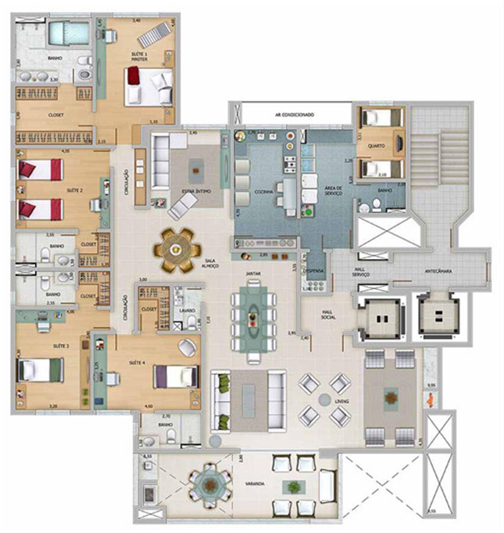 Edifício Athena - Planta do 18º, 20º e 22º pavimento | Olympus - Apolo e Athena – Apartamentona  Vila da Serra - Nova Lima - Minas Gerais