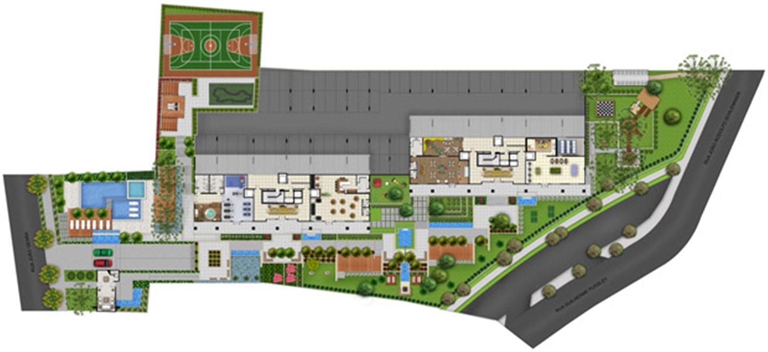 Perspectiva Ilustrada da Implantação   Acqua Verde Family Space – Apartamentono  Água Verde - Curitiba - Paraná