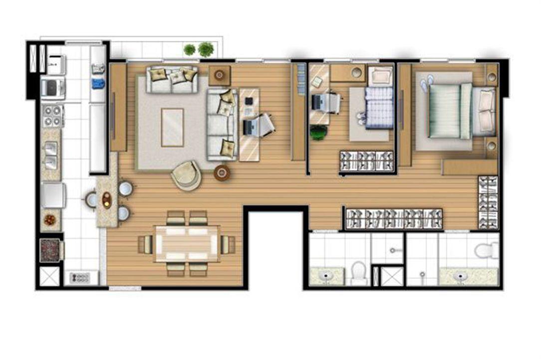 Planta opção 80 m² - Sala ampliada   Acqua Verde Family Space – Apartamentono  Água Verde - Curitiba - Paraná
