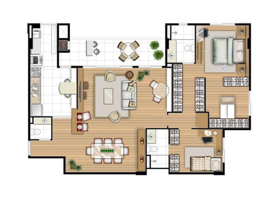 Planta opção 113 m² - 2 suítes   Acqua Verde Family Space – Apartamentono  Água Verde - Curitiba - Paraná