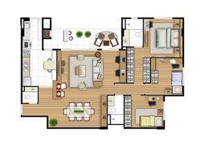 Planta opção 113 m² - Home office   Acqua Verde Family Space – Apartamento no  Água Verde - Curitiba - Paraná