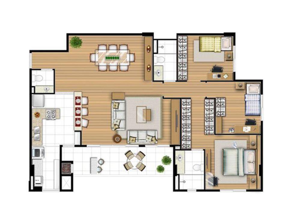 Planta opção 113 m² - Sala ampliada   Acqua Verde Family Space – Apartamentono  Água Verde - Curitiba - Paraná