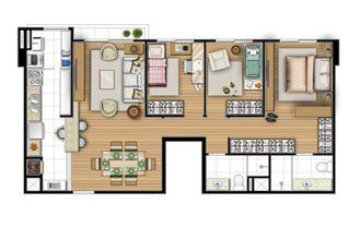 Planta tipo 80 m² - 3 quartos   Acqua Verde Family Space – Apartamento no  Água Verde - Curitiba - Paraná