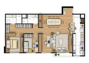Planta tipo 87 m² - Sala ampliada   Acqua Verde Family Space – Apartamento no  Água Verde - Curitiba - Paraná