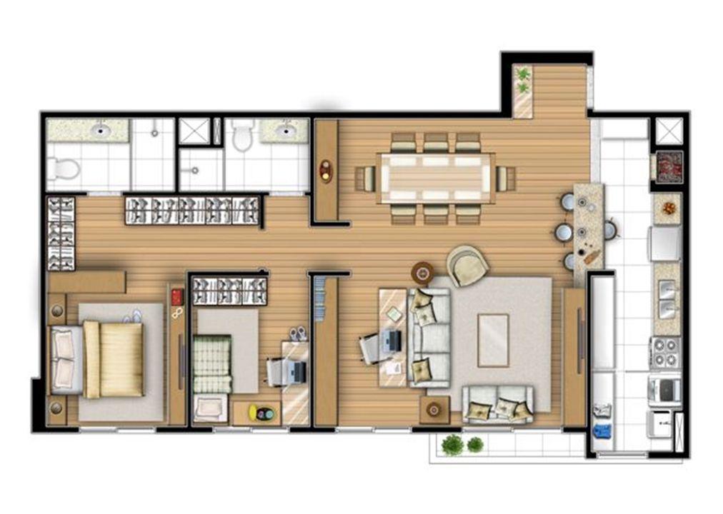 Planta tipo 87 m² - Sala ampliada   Acqua Verde Family Space – Apartamentono  Água Verde - Curitiba - Paraná