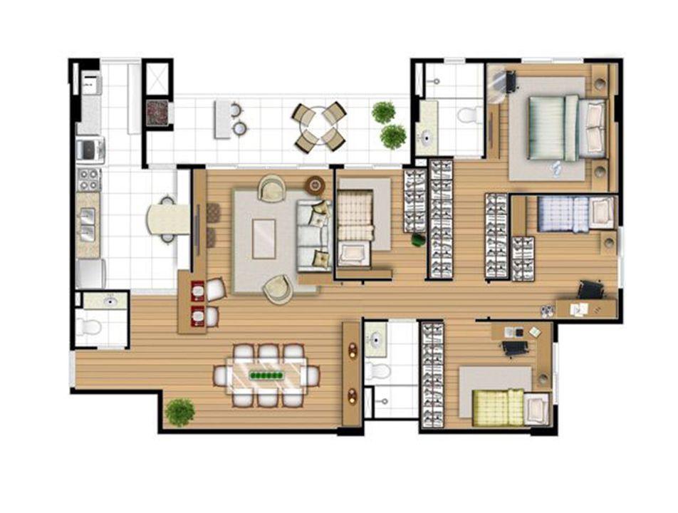Planta tipo 113 m² - 4 quartos   Acqua Verde Family Space – Apartamentono  Água Verde - Curitiba - Paraná