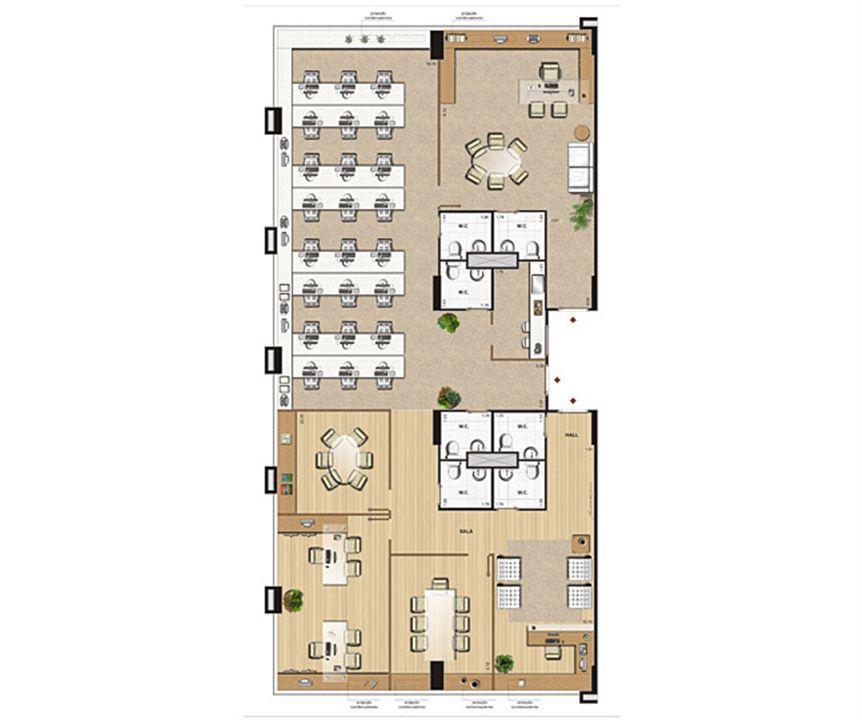 Planta opção 236 m² | CEO  Office – Salas Comerciaisna  Barra da Tijuca - Rio de Janeiro - Rio de Janeiro