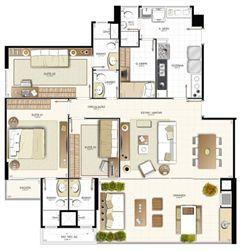 Planta 3 quartos - 129,49 m² | Provence Horto – Apartamento no  Horto Florestal - Salvador - Bahia
