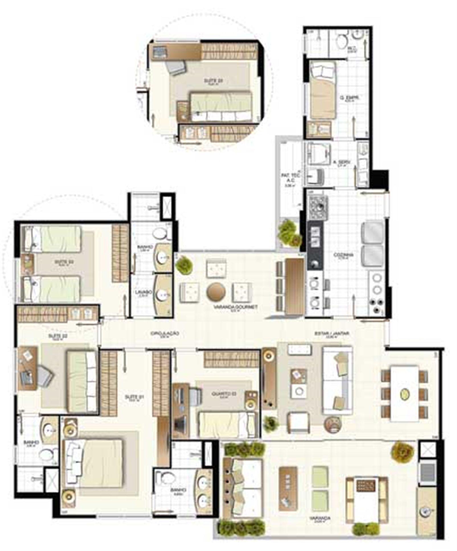 Planta 4 quartos - 148,56 m² | Provence Horto – Apartamentono  Horto Florestal - Salvador - Bahia