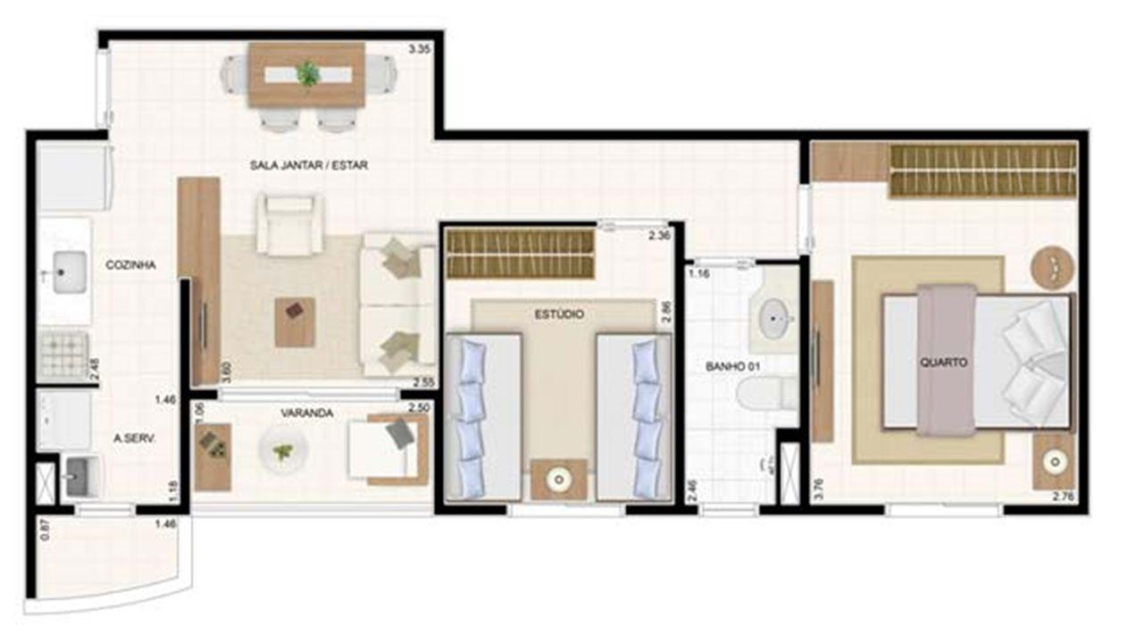 2 dorms 49,61m² 2 dorms 55m² | Vita 2 Residencial Clube – Apartamentono  Pitimbu - Natal - Rio Grande do Norte