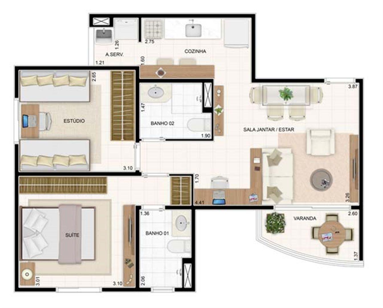 2 dorms 55m² | Vita 2 Residencial Clube – Apartamento no  Pitimbu - Natal - Rio Grande do Norte